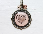 Pink Valentines Hand Drawn Art Pendant Necklace, Original Painting - Eclipse of the Heart