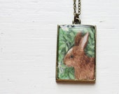 Woodland Bunny Rabbit Vintage Art Pendant Necklace - The Little Brown Bunny, Easter