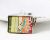 Green, Pink and Maroon Rectangle Striped Art Pendant Necklace - Scrapbook Paper in Gradient Colors