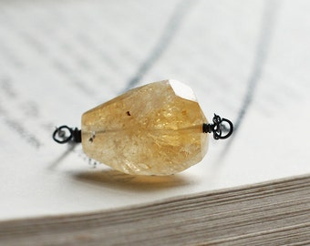 Citrine Nugget Oxidized Sterling Silver Necklace - The Sun