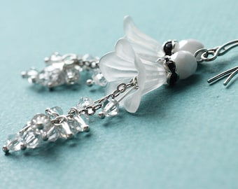White Bridesmaid Jewelry Flower Earrings - White Lily