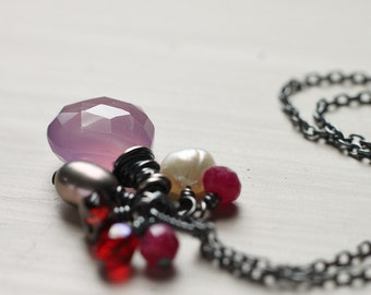 Lilac Light Purple Chalcedony Red Ruby Quartz Oxidized Sterling Silver Necklace - The Ripest Berry