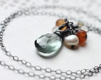 Moss Aquamarine Necklace Oxidized Sterling Silver, Pearl, Garnet, March Birthstone - Aquaria