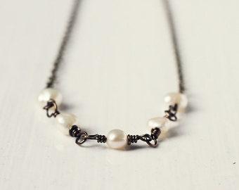 Minimalistic Bridesmaid Jewelry Antique Bronze Pearl Necklace - Pearlescent