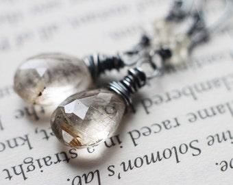Golden Rutilated Quartz Gemstone Earrings, Citrine Rondelles - Specks of Gold