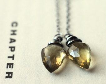 Olive Quartz Gemstone Earrings, Long Chain Minimalist - The Pendulum