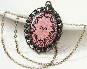Aries Zodiac Astrology Pendant Necklace, Pink Lace Hand Drawn Art Original Painting