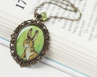 Woodland Bunny Rabbit Vintage Art Pendant Necklace - The Brown Hare