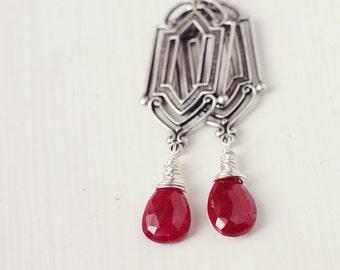 Genuine Red Ruby Earrings Sterling Silver July Birthstone Gemstone Jewelry - Art Deco Rubies