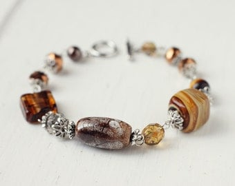 Earth, Brown Rustic Bracelet with Lampwork Glass, Ceramic Beads, Tiger's Eye Gemstone and Glass Pearls
