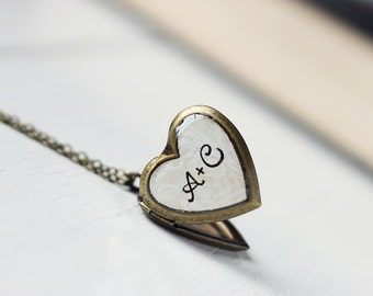 Initials Heart Locket - Custom Personalized Valentines Gift for Couples, Moms, Sisters, BFFs. Monogram Pendant