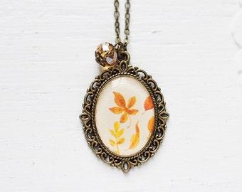 Autumn Yellow Leaves Vintage Art Pendant Necklace v4.0