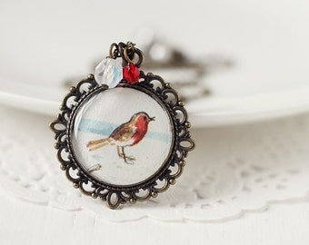 Bird Woodland Vintage Art Pendant Necklace - Little Robin on Snow