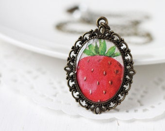 Cute Strawberry Vintage Art Pendant Necklace, Bright Red Summer Fashion For Her