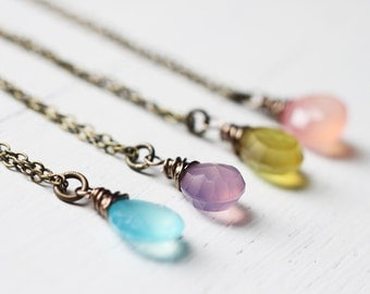 Easter Eggs - Chalcedony Antique Brass Bronze Gemstone Necklace in Easter Colors, This is for ONE necklace only.