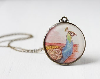 Peacock Art Pendant Necklace - The Indian Peacock, Vintage Art, Round Pendant