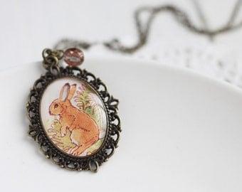 Orange Woodland Bunny Rabbit Vintage Art Pendant Necklace - The Brown Hare, Easter