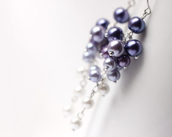 Ombre Purple Wedding Bridesmaid Jewelry Pearl Cluster Long Earrings Gradient Color from Dark Purple to White