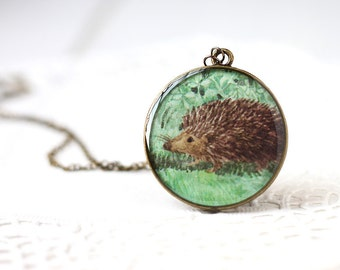 Little Brown Hedgehog in the Bushes Vintage Art Pendant Necklace, Woodland Nature Creature