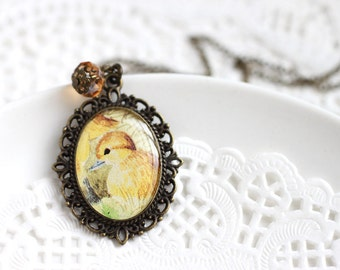 Little Yellow Duckling Woodland Vintage Art Pendant Necklace, Cute Bird Necklace