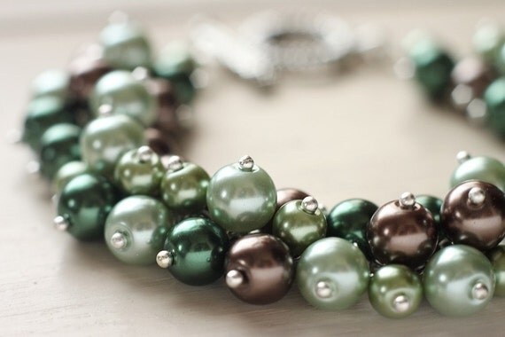 Pearl Cluster Bracelet Green Brown - Rainforest