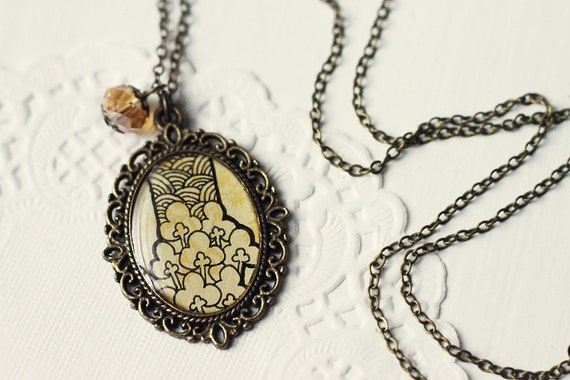 Hand Drawn Art Pendant Necklace, Original Painting, Ink Drawing - Cotton Flowers