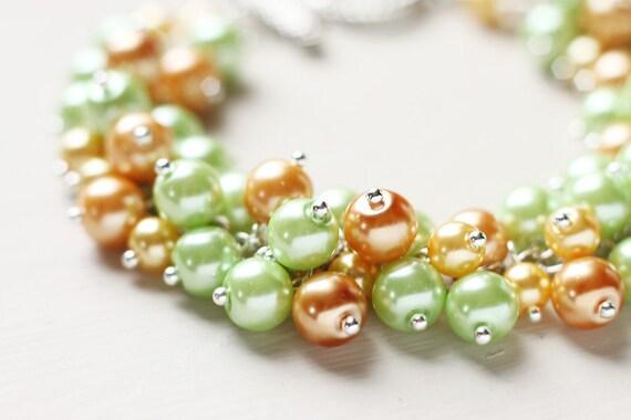 Summer Spring Wedding Pearl Cluster Bracelet - Citrus