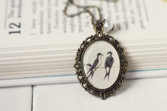 Bird Vintage Art Pendant Necklace - Two Little Swallows