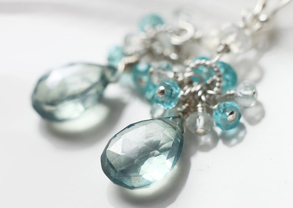 Teal Green Mystic Quartz White Topaz Cluster Gemstone Earrings - Mermaid's Tear