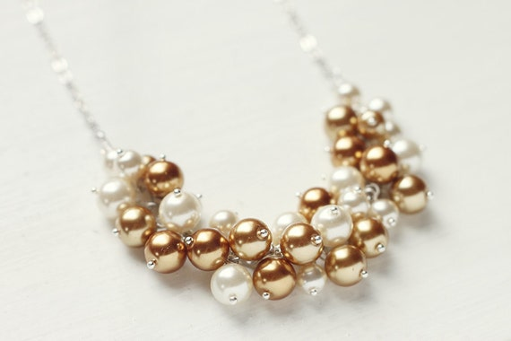 Bridesmaid Jewelry Gold Pearl Cluster Necklace - Golden Dreams
