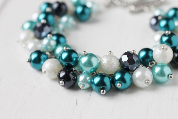 Teal Blue Wedding Bridesmaid Jewelry Pearl Cluster Bracelet - Sparkling Sea