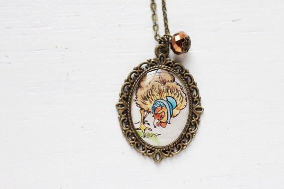 Farm Chicken Fowl Vintage Art Pendant Necklace - Hen in a Bonnet