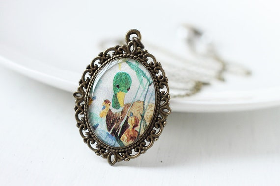 Bird Vintage Art Pendant Necklace - Papa Duck with his Ducklings, Farm