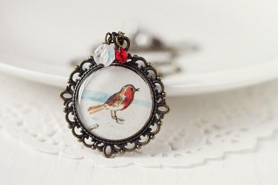 Bird Woodland Vintage Art Pendant Necklace - Little Robin on Snow
