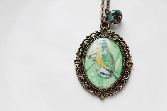 Bird Woodland Vintage Art Pendant Necklace - Upside Down Acrobatic Blue Tit