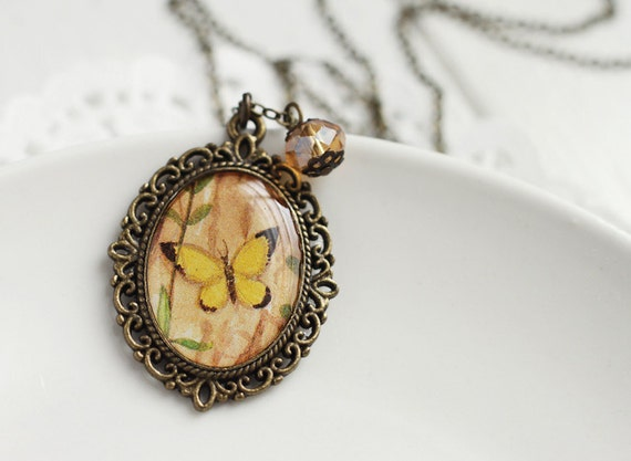 Yellow Butterfly Vintage Art Pendant Necklace Lace Setting Spring Woodland
