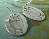 Owl Earrings in Fine and Sterling Silver, Handmade from Precious Metal Clay