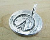 Personalized Silver Natural Hoofprint Pendant, Artisan Handmade Horse Jewelry, PMC Fine Silver