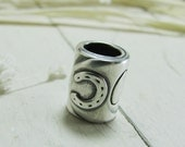 Personalized Horseshoe Bead, Artisan PMC Fine Silver with Custom Engraving
