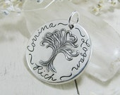 Personalized Artisan PMC Jewelry, Exclusive Handmade Pure Silver Tree Pendant, Engraved with Names