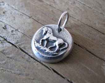 Horse Pendant, Feisty, Handmade Tiny Prancing Horse Charm in Fine Silver with Sterling Finding