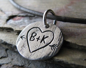 Personalized Custom PMC Fine Silver Artisan Pendant Handcarved with Heart, Arrow, and Initials by SilverWishes