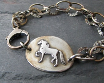 PMC Horse Jewelry, Fine Silver Link with Sterling Bracelet