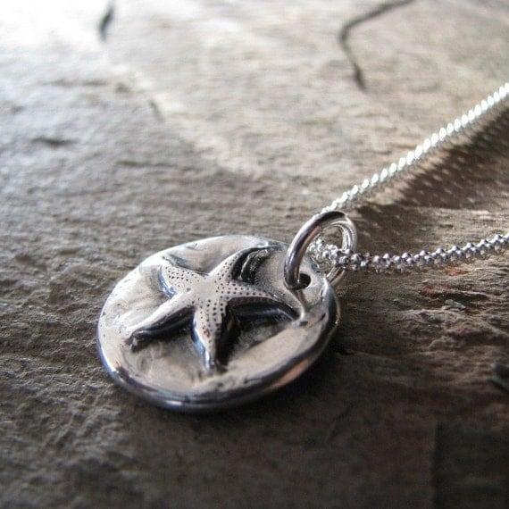 Sea Star, Fine Silver Pendant, Handmade, Recycled Silver, Beach Jewelry