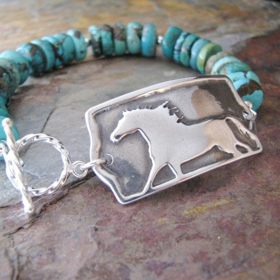 Horse Artisan Jewelry, PMC Fine Silver Horse Link with Sterling and Turquoise Bracelet, Flight Without Wings