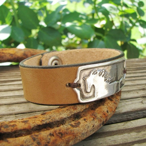 Energy, Horse Jewelry, PMC Silver Artisan Link with Leather Cuff Bracelet, Fine Silver