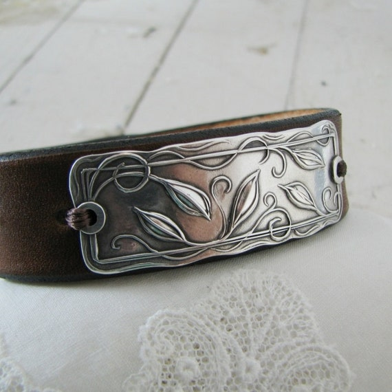 Everlasting Cuff, Handmade Fine Silver Link with Leather Bracelet, Original and Exclusive by SilverWishes