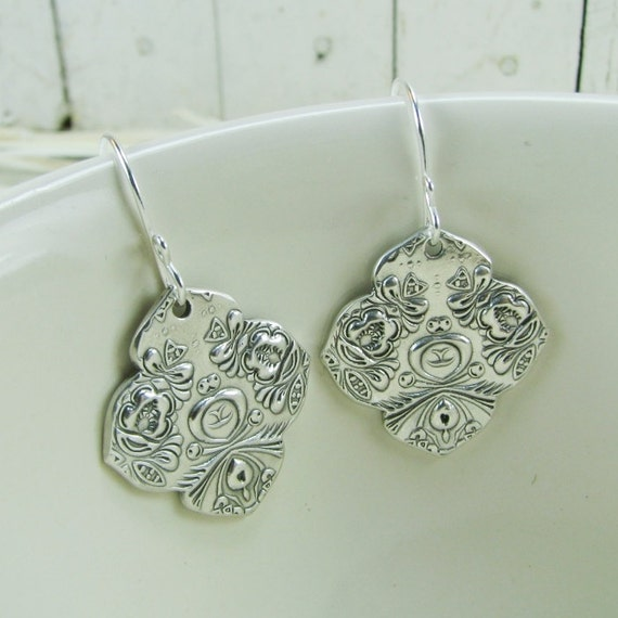 PMC Artisan Jewelry, Fine Silver Beautifully Textured Earrings with Sterling Earwires