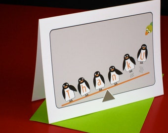 Note Cards with penguins, Thank You 8 note cards, Penguin stationery