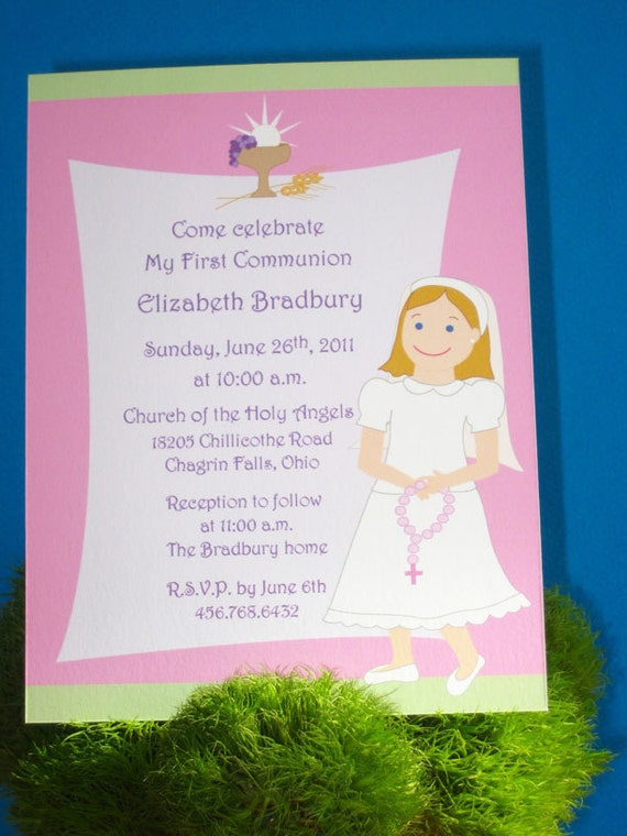 First Communion invitation for Girls with Chalice (10) CUSTOM MADE